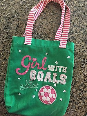 """GYMBOREE """"I Love Soccer"""" Green Pink Tote Bag, Girl With Goals"""