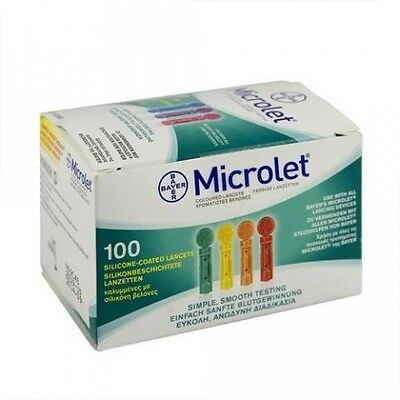 2 x Bayer Microlet Lancets 100 Ascensia 28 Gauge Single Use Sterile Brand New