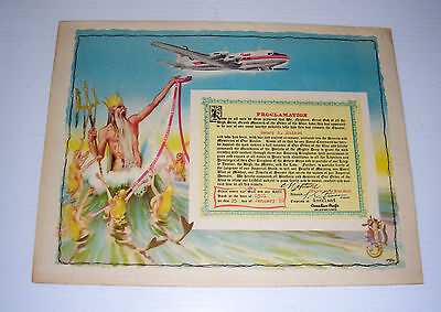 Vintage 1950 CANADIAN PACIFIC AIRLINES Neptune proclamation equator cross