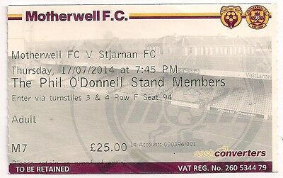 MOTHERWELL - STJARNAN Iceland 2014/15 UEFA Europa League EL ticket