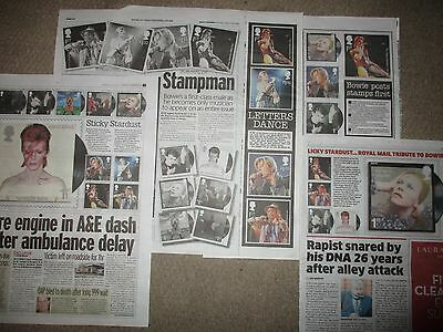 UK David Bowie Newspaper Clippings Royal Mail Tribute Stamps
