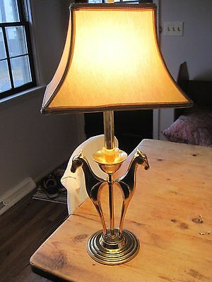 Vintage Brass Horse Table Lamp Style Art Deco