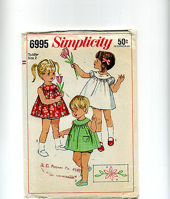 Sixties VINTAGE SEWING PATTERN Little Girls SWEET DRESS & PANTIES Gathered YOKE