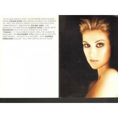 CELINE DION Let's Talk About Love CARD UK Epic 1997 Promo Postcard B/W Info