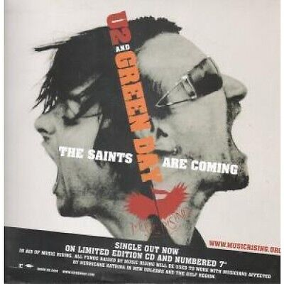 """U2 AND GREEN DAY Saints Are Coming CARD UK Reprise 2006 12""""X12"""" Double Sided"""