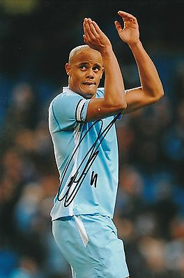 Football Vincent Kompany Man City Original Hand Signed Photo 12x8 With COA