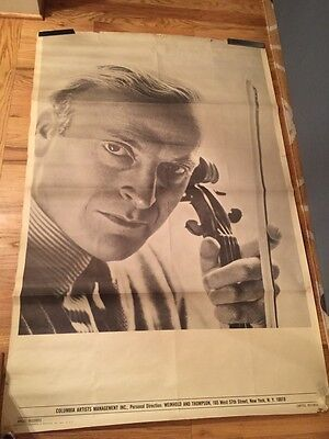 Large vintage 60's Columbia & Angel Records CONCERT promo poster male VIOLINIST