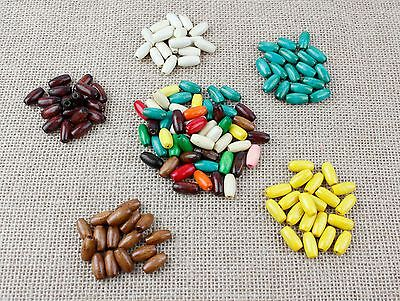 Various Coloured Wooden Oval Tube Beads - Craft, Jewellery [BUY 3 GET 3 FREE]