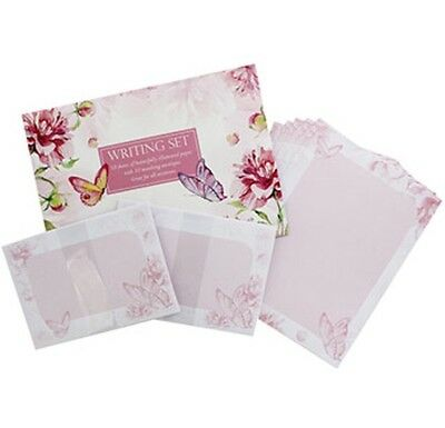 WRITING SET - BUTTERFLY/FLORAL - (10 Sheets and Envelopes) - NEW