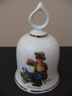 """""""norman Rockwell""""  Collectible Bell """"friend In Need"""" 1979 - Made In W. Germany"""