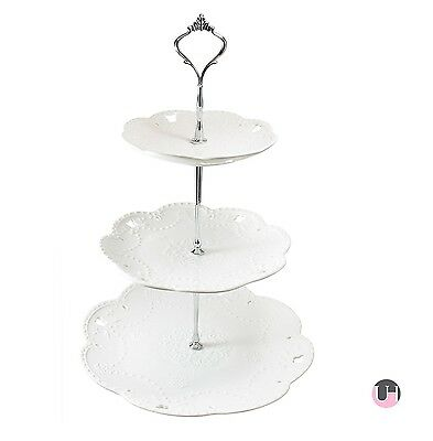NEW - 3 Tiered Porcelain Cake Stand - Party Food Server Display Set - Three T...