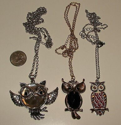 Lot Of 3 Long Owl Necklaces