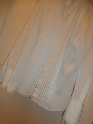 "White mens dinner shirt 16"" double cuffed in excellent condition"
