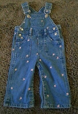 Faded Glory*Denim Vestbak Overalls*Toddler Baby Girl 12m*EUC
