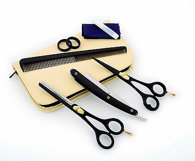 Professional Barber Hairdressing Scissors Thinning Hair Cutting Shears Set+Case