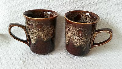 Pair of vintage Fosters brown honeycomb mugs from the Fosters Cornwall studio