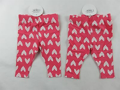 LOT OF 2 CIRCO BABY GIRLS PINK HEART LEGGINGS PANTS - Size 3-6 Months