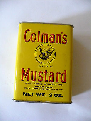 Vintage Colman's Mustard Spice Tin Can Square 2oz. Advertising From England