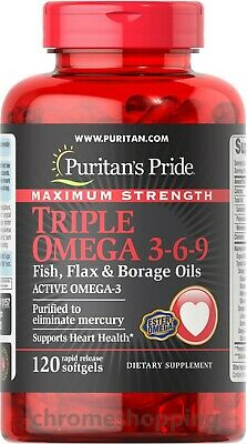 MAX Strength Puritans Pride Triple Omega 3-6-9 Fish Flax & Borage Oils x120