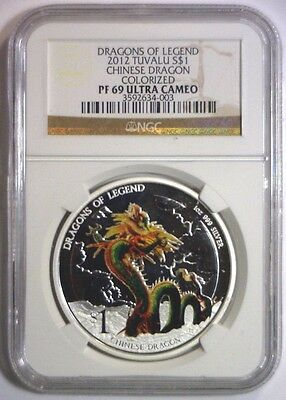 2012 Silver Proof $1 Dollar TUVALU Chinese Dragon Colorized ~ NGC PF69 69 UCAM