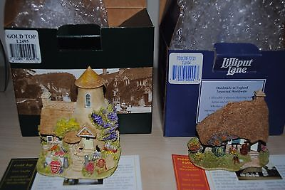 """Lilliput Lane """"Gold Top"""" and """"Fiddlers Folly"""" with original boxes and deeds"""