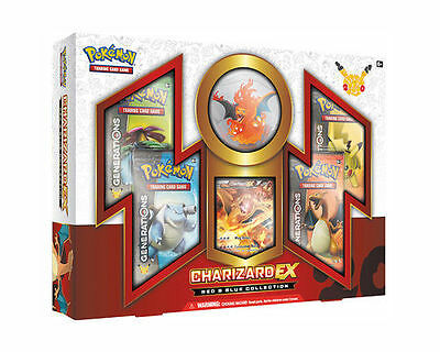 Pokemon Charizard EX Red & Blue Collection Box with Generations Packs X1