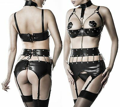 3-teiliges Ketten-Body-Set Grey Velvet Body String Nippelpatches Erotik 14507