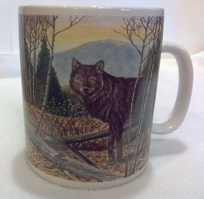 Gray Wolf With Facts Coffee Cup Mug MUGZ BY GANZ Signed - Grey Wolf Mug