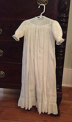 Antique Baby Christening Gown Dress with Hand Embroidery