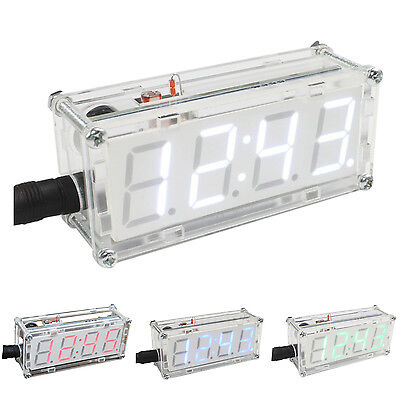 4-Digit DIY LED Electronic Clock Kit Microcontroller 0.8inch Digital Tube J5R5