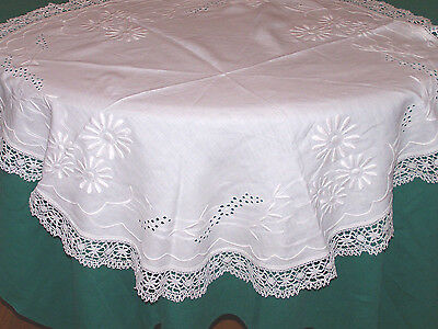 """LOVELY VINTAGE WHITEWORK EMBROIDERED TABLECLOTH 34"""" DIAMETER, NEEDLELACE c1930"""