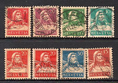 Switzerland: Very Nice Selection of 8-Used William Tell 1921 to 1928 Issues