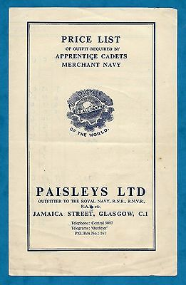 C1950's Paisleys Ltd Price List Outfit For Apprentice Cadets Of Merchant Navy