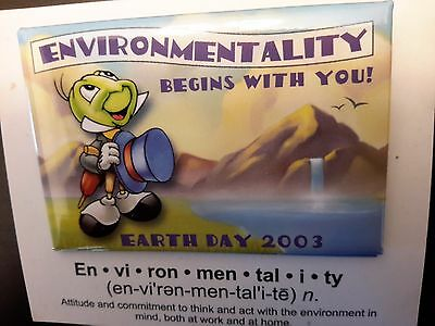 Jiminy Cricket Earth Day Button 2003 on Card Begins with you
