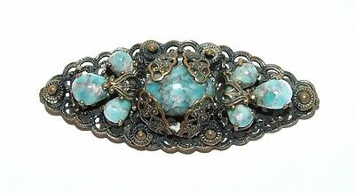 Stunning Vintage Czech Faux Turquoise Glass Bead & Gold Tone Filigree Brooch