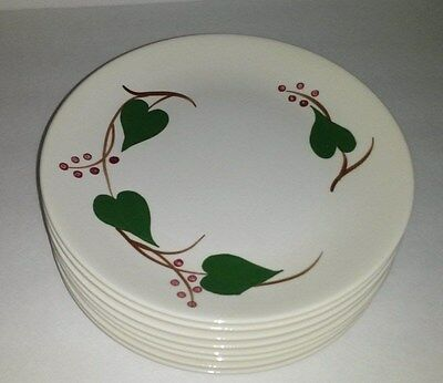 "8 Blue Ridge Southern Potteries Green Ivy Berries Stanhome 9 5/8"" Lunch Plates"