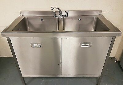 Used Commercial Stainless Steel Double Sink Cupboard £360
