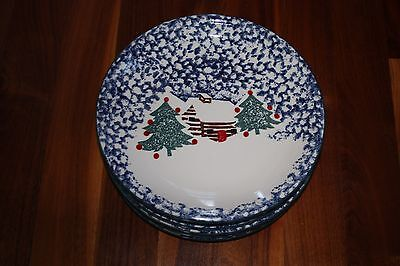 Tienshan Cabin in the Snow Dinner Plates Retired ~ Set of 8