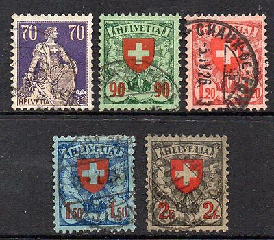 Switzerland: Very Nice Selection of 5-Used 1924 Issues Cat Val Circa £27
