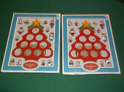 Two Wood Vintage Style Christmas Tree Ornament Sets