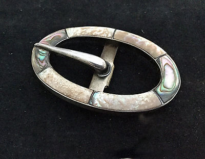 Art Deco show buckle, sterling silver and abalone