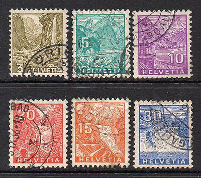 Switzerland: Very Nice Group of 6-Used 1934 Issues Cat Val Circa £7