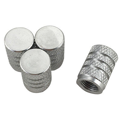 4 Pcs Knurling Tyre Tire Wheel Air Valve Stem Caps Silver Universal Fit For Car