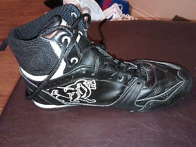Mens Lonsdale Bout 54 Black Boxing Leather Boots Full Lace Up UK 7 vgc