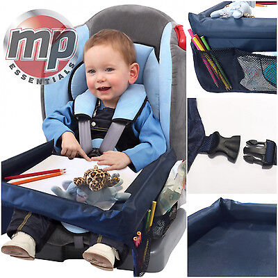 Car Booster Seat Plane & Buggy Kids Portable Travel Table Tray with Side Pockets