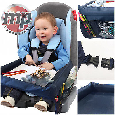 NEW Car Booster Seat, Plane & Buggy Kids Portable Travel Table with Side Pockets