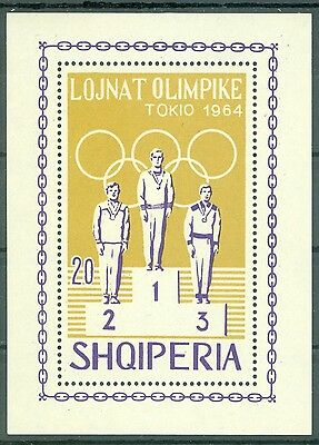 1964 Tokyo Summer Olympics winners,Albania,Bl.26 A,perforated,MNH