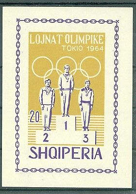 1964 Tokyo Summer Olympics winners,Albania,Bl.26 B,Imperforated,MNH