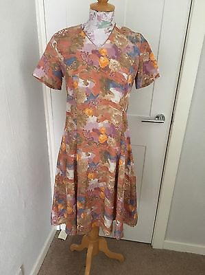Genuine Handmade Vintage Floral Print Tea Dress Size 10 Excellent Cond.
