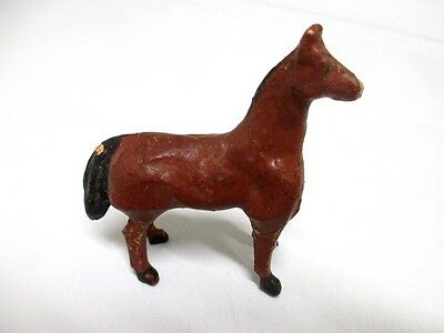 Vintage Putz Toy Horse Composition & Wood Stick Legs Probably From Germany